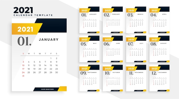Modèle de conception de calendrier de nouvel an jaune élégant 2021