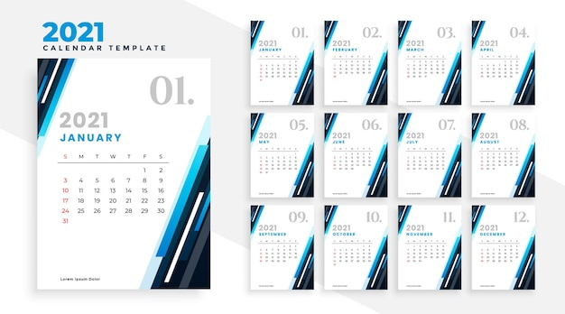Modèle de conception de calendrier professionnel 2021 bleu