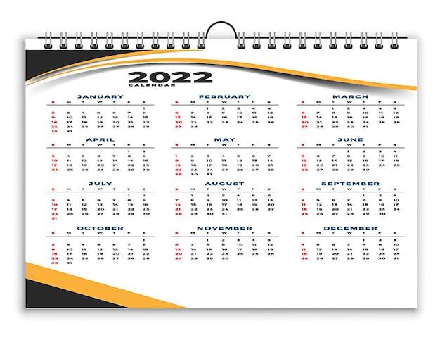 Modèle de conception de calendrier professionnel de styliste géométrique 2022