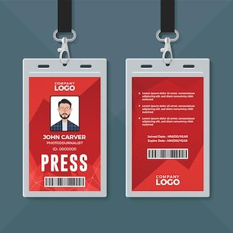 Modèle de conception de carte d'identité de presse