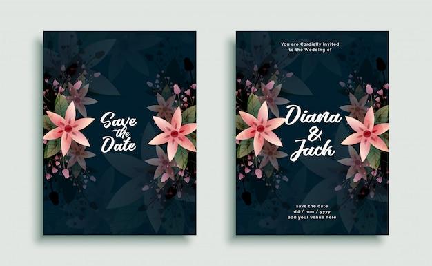 Modèle de conception de carte d'invitation de décoration de fleur de mariage