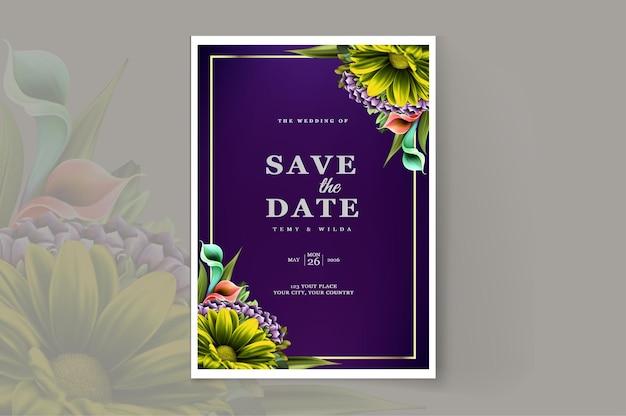 Modèle de conception de carte d'invitation de mariage de luxe