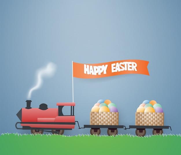Modèle de conception de carte de jour de pâques avec des oeufs dans un panier en bois dans le train