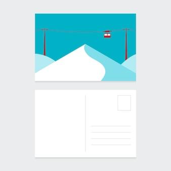 Modèle de conception de carte postale de noël avec un design plat de paysage d'hiver