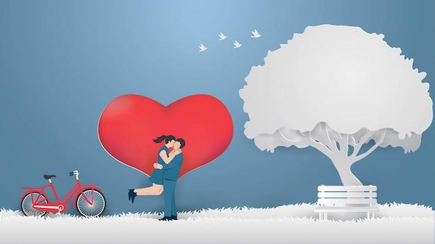 Modèle de conception de carte de saint valentin avec couple montrer l'amour sur l'herbe grise