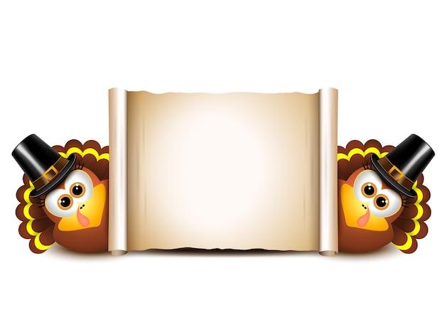 Modèle de conception de carte de thanksgiving. dindes sur fond blanc.
