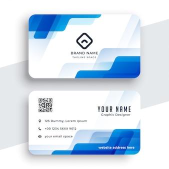 Modèle de conception de carte de visite abstrait bleu et blanc