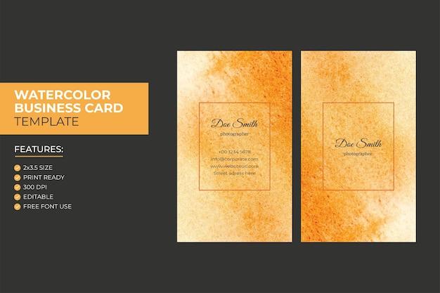 Modèle de conception de carte de visite aquarelle verticale abstraite colorée à la main
