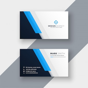 Modèle de conception de carte de visite bleu minimal