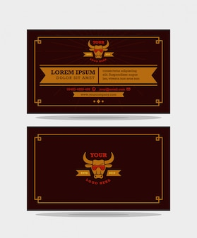 Modèle de conception de carte de visite brun vintage moderne, prêt à imprimer