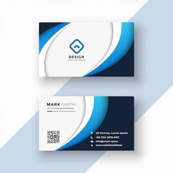 Modèle de conception de carte de visite élégant vague bleue