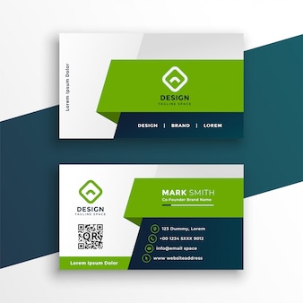 Modèle de conception de carte de visite géométrique vert élégant