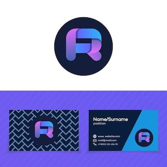 Modèle de conception de carte de visite avec logo lettre r