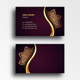 Modèle de conception de carte de visite de luxe avec mandala doré