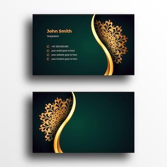 Modèle de conception de carte de visite de luxe avec mandala ornemental de luxe