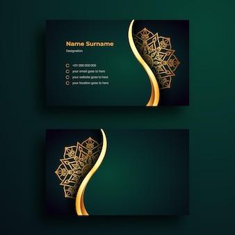 Modèle de conception de carte de visite avec mandala ornemental de luxe
