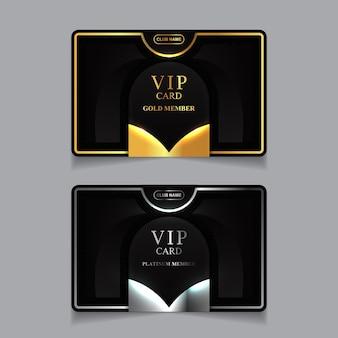 Modèle de conception de carte de visite de membre vip de luxe doré et platine