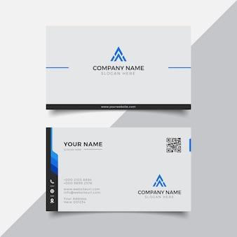 Modèle de conception de carte de visite moderne bleu et blanc élégant professionnel