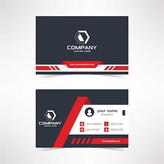Modèle de conception de carte de visite moderne avec des couleurs noir rouge blanc