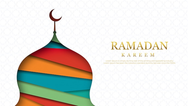 Modèle de conception de carte de voeux joyeux ramadan.