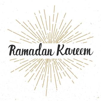 Modèle de conception de carte de voeux ramadan kareem avec lettrage