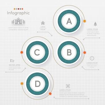 Modèle de conception de cercle infographie avec des icônes