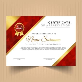 Modèle de conception de certificat d'appréciation géométrique avec ligne d'or