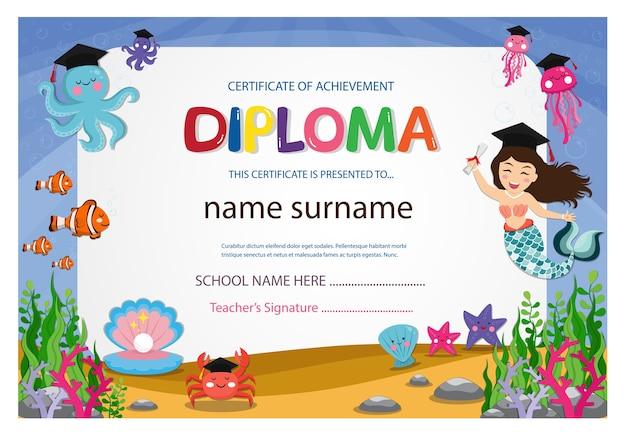 Modèle de conception de certificat coloré enfants certificat diplôme
