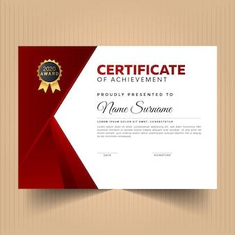 Modèle de conception de certificat avec couleur rouge