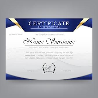 Modèle de conception de certificat dans un style moderne