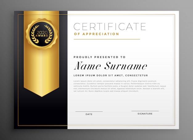 Modèle de conception de certificat d'entreprise doré