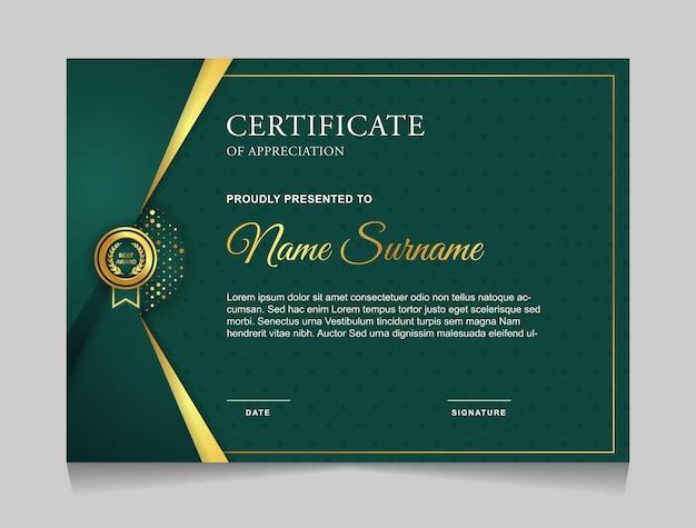 Modèle de conception de certificat moderne vert et or