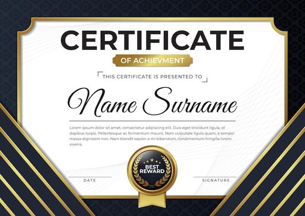 Modèle de conception de certificat noir et or