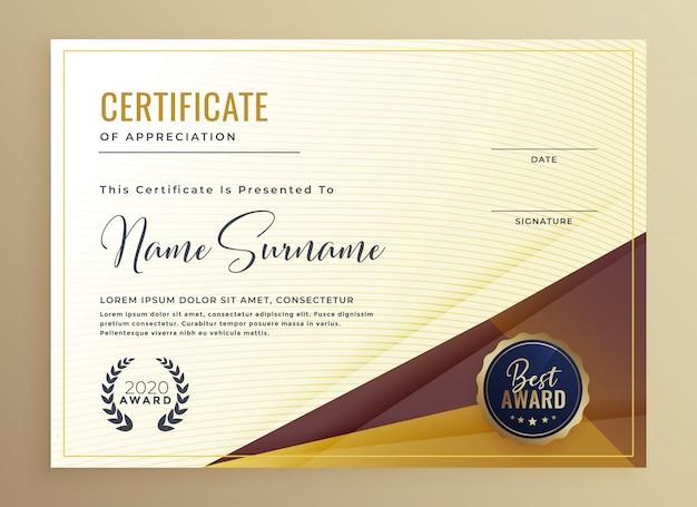 Modèle de conception de certificat premium luxe
