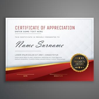 Modèle de conception de certificat premium rouge et doré élégant