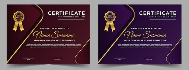 Modèle de conception de certificat professionnel