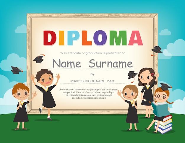 Modèle de conception de certificat scolaire kids diploma