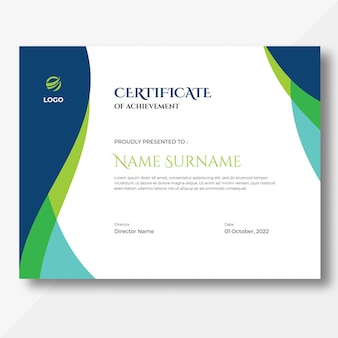 Modèle de conception de certificat de vagues bleues et vertes abstraites