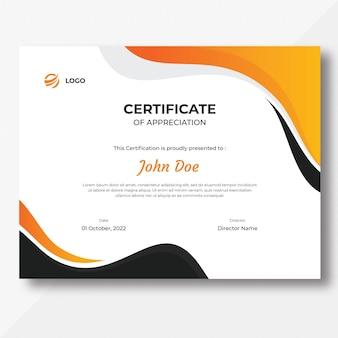 Modèle de conception de certificat de vagues orange gris et noir