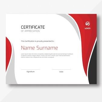 Modèle de conception de certificat de vagues rouges, grises et noires