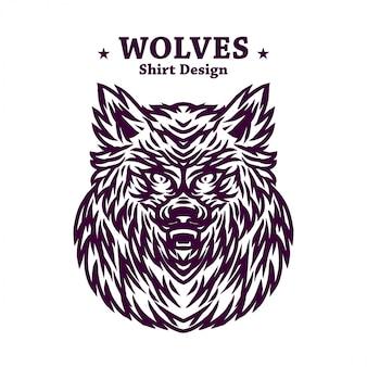 Modèle de conception de chemise sombre loups dessin au trait