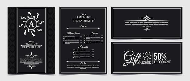 Modèle de conception de chèque-cadeau de luxe de restaurant de menu