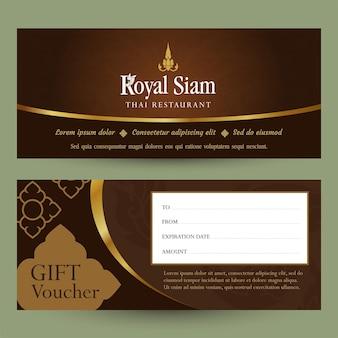 Modèle de conception de chèque-cadeau de restaurant thaïlandais. motif thaï.