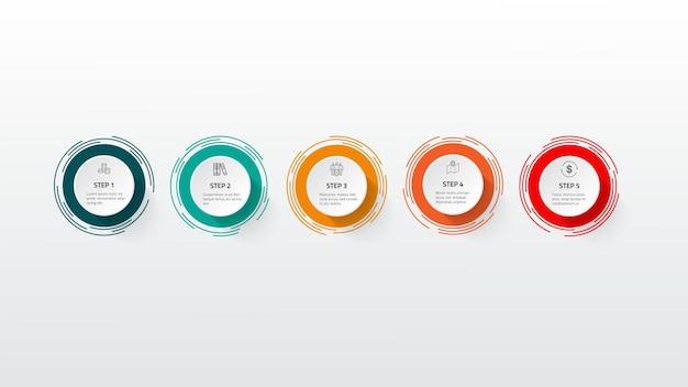 Modèle de conception de chronologie d'infographie d'entreprise avec des icônes et 5 étapes