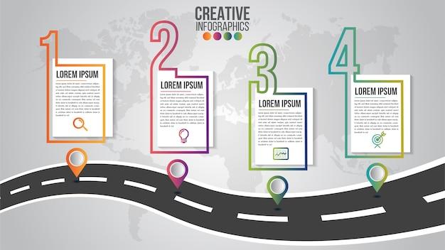 Modèle de conception de chronologie moderne infographique pour les entreprises avec 4 étapes ou options