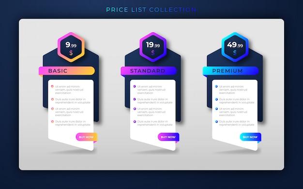 Modèle de conception de comparaison de liste de prix créative moderne ou éléments de conception infographique