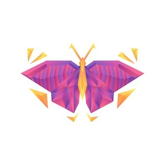 Modèle de conception de concept créatif papillon dégradé coloré vector logo