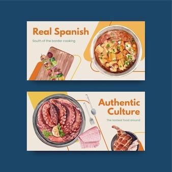 Modèle avec la conception de concept de cuisine espagnole pour illustration aquarelle de médias sociaux