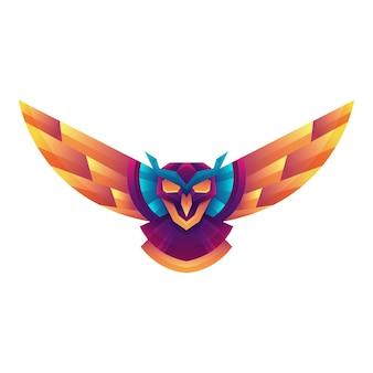 Modèle de conception de concept de logo d'art vectoriel chouette dégradé coloré créatif