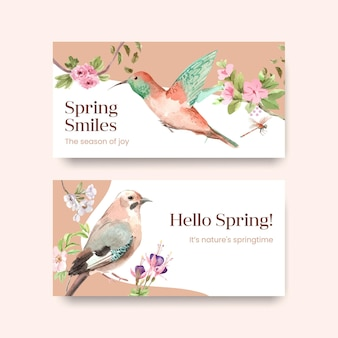 Modèle avec la conception de concept de printemps et d'oiseau pour les médias sociaux et l'illustration aquarelle communautaire